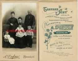 Grand CDV (Cabinet) Officier Du 5e Régiment En Famille-médaille-photo A. Dufour à Besançon - Guerre, Militaire