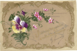 CARTE  CELLULOIDE PEINTE  PENSEE - Cartes Postales