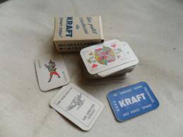 ANCIEN MINI  JEU DE CARTE OFFERT PAR  KRAFT   / DIM  2,5 X 4 Cm - 54 Cartes