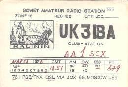 Amateur Radio QSL Card - UK3IBA Club Station - USSR - 1976 - Radio Amateur