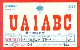 Amateur Radio QSL Card - UA1ABC - Leningrad USSR - 1975 - 2 Scans - Radio Amateur