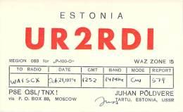 Amateur Radio QSL Card - UR2RDI - Tartu, Estonia USSR - 1974 - Radio Amateur