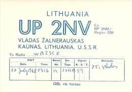 Amateur Radio QSL Card - UP2NV - Kaunas Lithuania USSR - 1968 - Radio Amateur