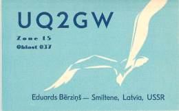 Amateur Radio QSL Card - UQ2GW - Smiltene Latvia USSR - 1968 - 2 Scans - Radio Amateur