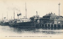 BOULOGNE-SUR-MER. - La Gare Maritime Et Le Bateau De Folkestone. - LL. # 242 - (Ships, Wharf, Advertising) - Boulogne Sur Mer