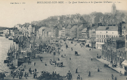 BOULOGNE-SUR-MER. - Le Quai Gambetta Et La Quartier St-Pierre - LL. # 244 - (Wharf, Boats, Shops, People) - Boulogne Sur Mer