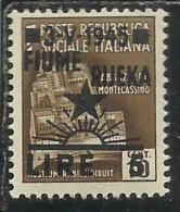 OCCUPAZIONE FIUME 1945 L. 5 SU 0.10 MNH