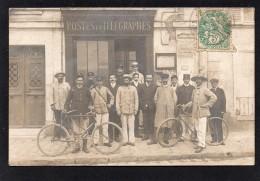 95 ENGHEIN LES BAINS UNIQUE CARTE PHOTO BUREAU DES POSTES ET TELEGRAPHES BELLE ANIMATION LE PERSONNEL DEVANT L' ENTREE - Enghien Les Bains