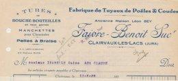 Facture De La Fabrique De Tuyaux De Poêles & Coudess Faivre-Benoit Suc' à Clairvaux-les-Lacs Dans La Jura  En...19321 - Frankrijk