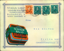 1937, Toller Firmenbrief Mit Werbung PELIKAN Aus BUDAPEST Nach Berlin. - Factories & Industries