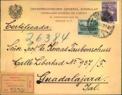 1929, Einschreiben Vom Österreichischen Generalkonsulat In MEXICO D.F. Nch Guadalajara. Rückseitig Diverse Aufkleber. - 1918-1945 1. Republik