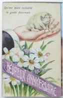 Cp Litho Fantaisie Illustrateur  ETOILE Main Veinarde D Homme Tenant Cochon Decor Narcisse Jonquille Voeux Anniversaire - Fantaisies