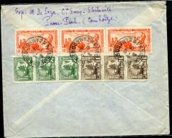 CAMBODGE - INDOCHINE N° 155 (3) + 156 (3) + PA N° 15 (3) / LETTRE AVION OBL. PNOMPENH LE 30/3/1948, POUR BESANCON - TB - Brieven En Documenten