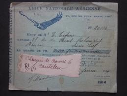 AVIATION - LIGUE NATIONALE AÉRIENNE, PARIS VIII, 27, RUE DE ROME, CARTE DE MEMBRE REÇU 1914, MEMBRE DE ROUEN - Historical Documents