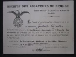 AVIATION - SOCIÉTÉ DES AVIATEURS DE FRANCE, INVITATION PERSONNELLE CONFÉRENCE MENSUELLE 1911, PARIS RUE DROUOT - Historical Documents