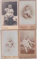 CDV-CARTE DE VISITE-PHOTO-KIND-ENFANT-BABY-LOT-4 PHOTOS-PHOTO-SAMSON-LIEGE+DARDENNE-JEMEPPE-VOYEZ-6 SCANS! - Personnes Anonymes