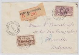 Martinique/Belgium REGISTERED COVER 1938 - Timbres