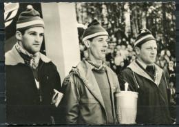 """CPSM S/w Photo Sonderkarte Skispringen DDR Klingenthal 1959""""Helmut Recknagel,Harry Glaß-Skispringer""""mit SST"""" 1 AK Used - Ski"""