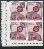 Italia 1967; EUROPA Da Lire 40 . Quartina D' Angolo. - 6. 1946-.. Repubblica