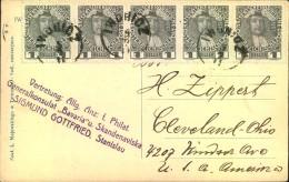1911, IWONICZ, Ansichtskarte Mit Dekorativer MeF, Drucksache Nach USA - Polen