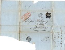 Lettre De 1855 De Paris à Bordeaux  Timbre Empire Français 20c Tampons Paris - Bordeaux - Sté De La Vieille Montagne - Marcophilie (Lettres)
