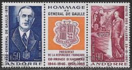 Andorre Français Oblitérérs, No: 225a, Coté 5,35 Y & T,  HOMMAGE AU GENERAL DE GAULLE, USED