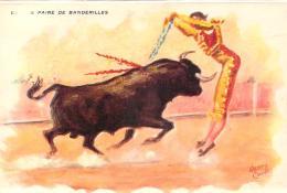 Corrida Tauromachie - Corrida à Méjanes, Grande Paire De Banderilles (illustrateur Henry Couve) - Corrida