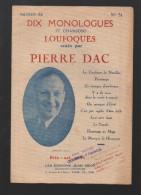 Plaquette Dix Monologues Loufoques De Pierre Dac N°51 (PPP3431) - Noten & Partituren