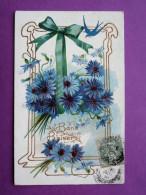 """Cpa Fantaisie Gauffree  """" Bons Baisers """"  Hirondelle Ruban Fleurs Dorure Art Nouveau, Adresse - Autres"""