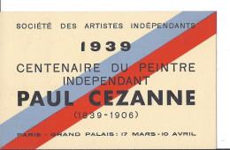 Carte Maximum 1939 PARIS Grand Palais Du 17 Mars Au 10 Avril Timbre 2.25f Bleu Cézanne Paul Ouvré 1839 1906 Cachet Maxi - Marcophilie (Lettres)