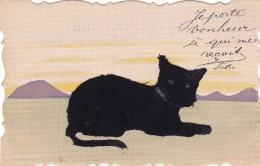¤¤  -   Carte à Système   -  Chat En Feutrine  -  Je Porte Bonheur à Qui Me Reçoit     -  ¤¤ - Cats