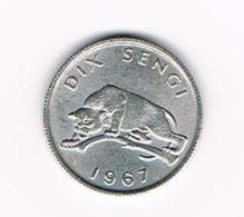 °°°  CONGO DEM. REP. 10 SENGIS 1967 - Congo (Democratic Republic 1964-70)