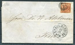 1861 Denmark KDOPA Hamburg 4sk Cover - Kiel - 1851-63 (Frederik VII)