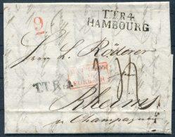 1833 Hamburg Entire - Rheims France TTR4 HAMBOURG Forbach - Germania