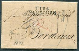 1833 Hamburg Prestamp Entire - Bordeaux France TTR4 HAMBOURG - Germany
