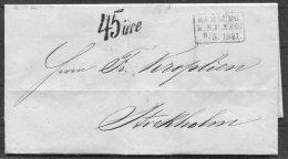 1861 K.S.P.A. Hamburg Entire - Stockholm Sweden 45 Ore Postage Due Losen - Hamburg
