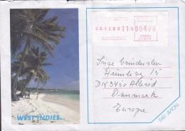 Guadeloupe Par Avion SAINT MARTIN 1989 Meter Stamp Cover Lettre ALLERØD Denmark (2 Scans) - Antillen
