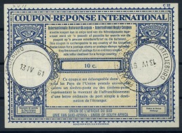 SOUTH AFRICA / AFRIQUE DU SUD Lo17 10c.International Reply Coupon Reponse IAS IRC Antwortschein O PRETORIA 13.4.61 - Briefe U. Dokumente