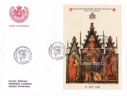 """Malta 1998 S.M.O.M . Block FDC °. Matteo Di Pcinodi DUCCIO """" Inconorazione Della Vergine E Santi """" N°. 007 039 - Christianisme"""