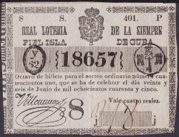 LOT-89 SPAIN ESPAÑA CUBA OLD LOTTERY. 1845. SORTEO 401. 8vo Y 4to. - Lottery Tickets