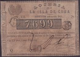 LOT-164 SPAIN ESPAÑA CUBA OLD LOTTERY. 1875. SORTEO 941. EXTRAORDINARIO. - Lottery Tickets