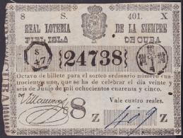 LOT-165 SPAIN ESPAÑA CUBA OLD LOTTERY. 1845. SORTEO 401. - Lottery Tickets