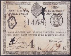 LOT-167 SPAIN ESPAÑA CUBA OLD LOTTERY. 1843. SORTEO 368. - Loterijbiljetten