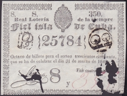LOT-171 SPAIN ESPAÑA CUBA OLD LOTTERY. 1842. SORTEO 350. - Lottery Tickets