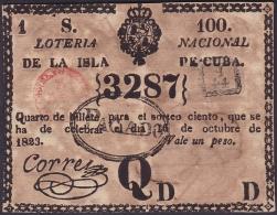 LOT-175 SPAIN ESPAÑA CUBA OLD LOTTERY. 1823. SORTEO 100. PAGADO. - Billetes De Lotería