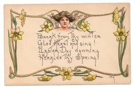 HB Griggs Art Nouveau Easter Woman Daffodils Poem Embossed 1909 HBG Postcard - Illustratori & Fotografie