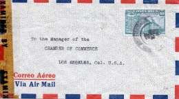 COSTA RICA 1949? - 60 Centavos Auf Zensurierten LP-Brief Gel.St.Jose > Los Angeles - Costa Rica