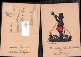 106082,Scherenschnitt Silhouette Briefträger Trompete Post - Silhouettes
