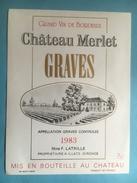 1069 -  Château Merlet 1983 Graves - Bordeaux