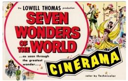 Dallas Texas Cinerama Movie Theater, 'Seven Wonders Of The World' Movie Advertisement C1950s Vintage Postcard - Afiches En Tarjetas